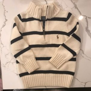NWOT Ralph Lauren Polo Navy/Cream Knit Sweater 2T